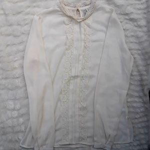 Cato long sleeve high neck white cream lace top
